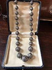 ANTIQUE VICTORIAN EDWARDIAN STERLING SILVER FILIGREE BEAD CHAIN NECKLACE