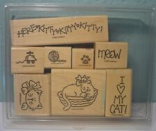 RARE Stampin Up Retired 1998 Meow Meow Set of 8 mounted Ink Rubber Stamps Cats