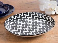MIKASA COCOON Stoneware Black & White CHEVRON DINNER PLATE