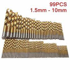 99Pcs Titanium Coated HSS High Speed Steel Twist Drill Bits Tools Kit 1.5mm-10mm