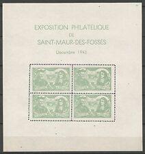 Saint-Maur des Fossés 1943 bloc journée du timbre noir Parfait état