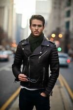 Men's Diamond Quilted Kay Michael Soft Real Leather Black Slim Fit Biker Jacket