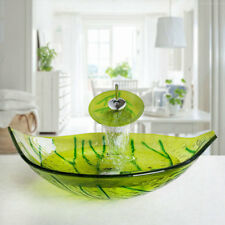 Bathroom Leaves Shaped Glass Basin Sink Set With Waterfall Faucet Mixer Taps