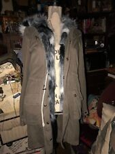 PAM GELA Cool Olive Green Hooded Wild Faux Fur Coat Size S