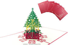 Special Offer -5 pcs Luxury 3D Pop Up Christmas Tree Gorgeous Ribbon Decked Card
