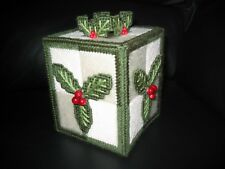 FESTIVE HOLLY TISSUE BOX/COVER/TOPPER - HANDMADE - FINISHED ITEM