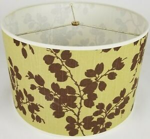 "NEW Drum Lamp Shade 15"" Dia 10"" H Modern Plum Branch Brown Fabric"