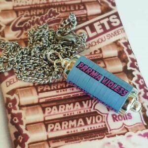 Unique PARMA VIOLET NECKLACE sweets MINIATURE jewellery HANDMADE retro VIOLETS