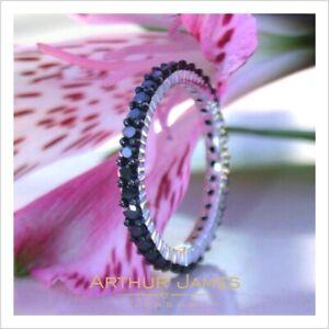 Black Diamond 0.87 Ct Round Cut Full Eternity Wedding Band White Gold Jewelry