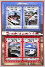 Niger 2017 MNH High-Speed Trains ICE Shinkansen Angela Merkel 4v M/S Rail Stamps