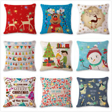 LED Flashing Christmas Pillow Cushion Cover Cotton Throw Pillow Cover Home Decor