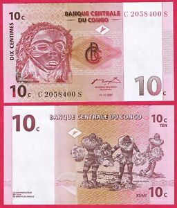 CONGO 10 CENTIMES 1997 P82 BANKNOTE UNC
