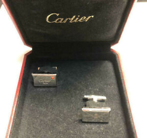 Authentic Cartier Cufflinks Letter Envelope Decor 925 Sterling Silver with Case