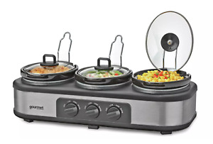 GOURMET by SensioHome GTSC004 Triple Slow Cooker & Warming Station - Ex Display