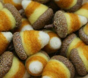 12 Primitive Halloween Candy Corn Acorns Needle Felted Wool Melissa Philbrook US