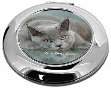 Gato Azul Británico 'el amor que mamá' maquillaje Redondo Espejo Compacto