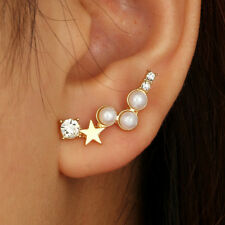 QA_ Women Star Faux Pearl Rhinestone Ear Stud Climber Earrings Jewelry Gift Ut