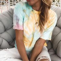 Ladies Girl Gradient Tie Dye T Shirt Woman Summer Short Sleeve Loose Tops Blouse