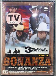 "BONANZA (DVD - 3 CLASSIC EPISODES) ""CLASSIC TV"" - BRAND NEW/SEALED ""REGION ALL"""