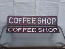 "LOT OF 2  X LARGE COFFEE SHOP ""EMBOSSED""  Signs Metal Vintage Style MAX EXPOSURE"