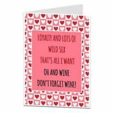 Funny Valentines Day Card For Him Husband Boyfriend Wine Alcohol Design