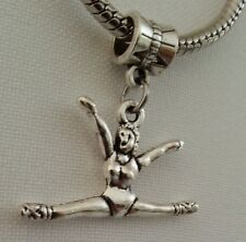 Gymnastics Gymnast Sports Athlete Dangle Bead fit European Charm Silver Bracelet