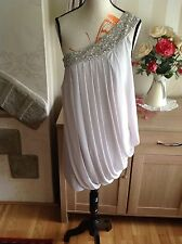 Lipsy Grecian Drape 1 Shoulder Embellished Dress Size-8 £64 New With Tags (P1)