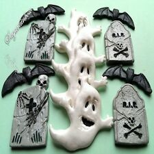 Edible sugar Halloween cake decorations ghost tomb bats cupcake toppers