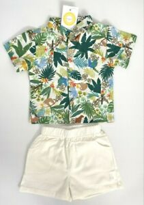 size 18-24m / 4-5y new boys outfit/set tropical jungle shirt & ivory shorts set