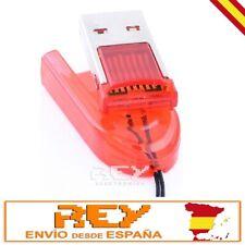 Adaptador Lector Tarjeta MICRO SD a USB Portátil, Color ROJO Desde España v44