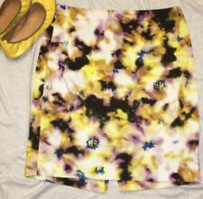 J. Crew Pencil Skirt Straight Stretch Mini Sz 8 Yellow Black Purple Black Paint