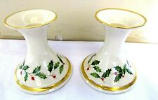 """Pair Lenox Holiday Christmas Candlesticks """"Holly Berry"""" 24Kt Gold Trimmed-3 3/4"""""""