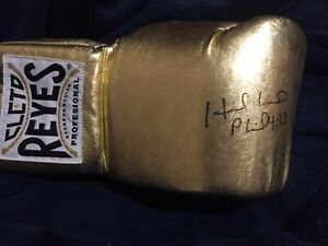 Evander Holyfield Signed Gold Cleto Reyes Glove with COA not Mike Tyson