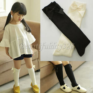 Baby Girl Children Kids Knee High School Socks with Ribbon Bow 9 months 6 years