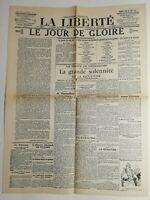 N512 La Une Du Journal La liberté 28 juin 1919 le jour de gloire geurre cinq ans