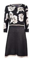 Jessica Howard Women's Petite Floral-Print Fit & Flare Sweater Dress (M, Black)