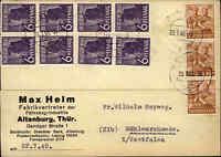 1948 Bedarfskarte mit Mehrfach-Frankatur Firma Helm / Stempel ALTENBURG gelaufen