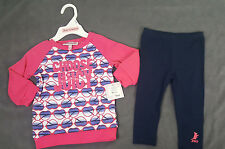 NWT 2 X JUICY COUTURE TOD GIRL PINK TUNIC SHIRT + LEGGING PANTS SET SZ 6/12 Mon