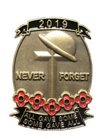 2019 Never Forget Remembrance Day Veterans  Military Red Poppy Pin Badge Brooch