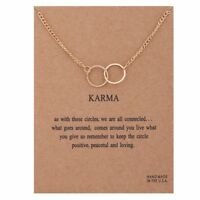 Karma Necklace Bronze Rose Gold Charm Yoga Circle Gift Wish Card