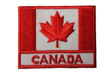 CANADA COUNTRY Flag With Caption IRON-ON PATCH CREST BADGE..SIZE: 2.5 X 2 INCH