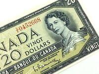 1954 Canada 20 Twenty Dollar Prefix VE Circulated Elizabeth Banknote L670
