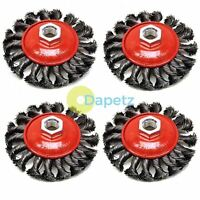 "4 Pcs M14 Crew Twist Knot Wire Wheel Cup Brush Set for 4.5"" 9"" Angle Grinder"