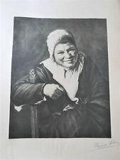 Lithographie ancienne - la sorcière - ALEXANDRE LELEU- XXe