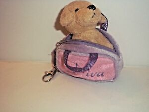 AURORA PLUSH CARRY ALONG  MINI DOG PUPPY IN PURSE, BAG, 4""