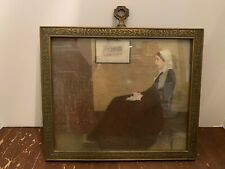 Antique Ornate Wooden Picture Frame with Whistler's Mother Print