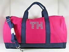 Tommy Hilfiger NWT Pink Navy Duffel Detachable Crossbody Strap Large Weekender