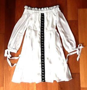ANTHROPOLOGIE OFF SHOULDER WHITE CHIFFON MILKMAID RENAISSANCE DRESS LARGE