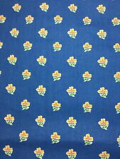 Waverly Fabric Shower Curtain Blue Small Flowers EUC
