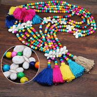 Gewebe Lange Kette Halskette mit Schmetterling Bunte Holzperlen Anhänger